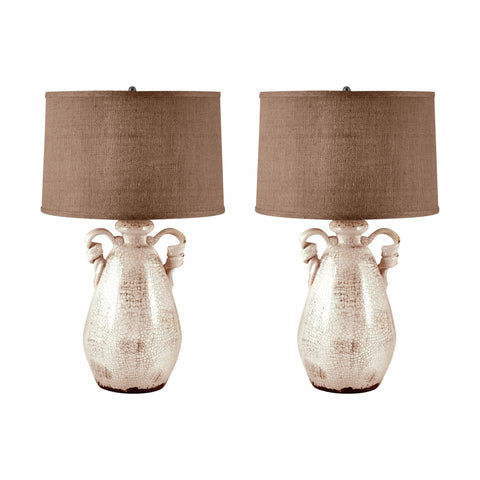 Lamp Works LAM-272/S2 Terra Cotta Collection Cream Finish Table Lamp