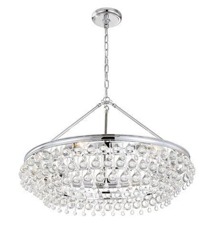 Crystorama 275-CH Calypso 6 Light Crystal Teardrop Chrome Chandelier - PeazzLighting