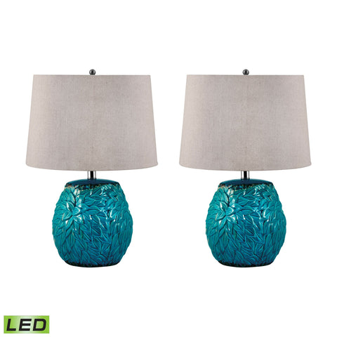Lamp Works LAM-275/S2-LED Terra Cotta Collection Aqua Finish Table Lamp