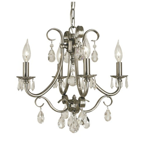 Framburg 2994-BN 4-Light Brushed Nickel Liebestraum Mini Chandelier