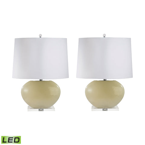 Lamp Works LAM-307C/S2-LED Blown Glass Collection Cream Finish Table Lamp