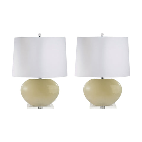 Lamp Works LAM-307C/S2 Blown Glass Collection Cream Finish Table Lamp