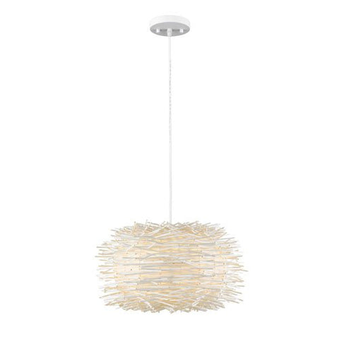 4-Light Pendant with White Willow Shade