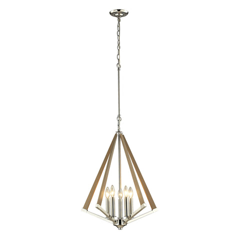 ELK Lighting 31474/5 Madera Collection Polished Nickel, Taupe Finish - PeazzLighting