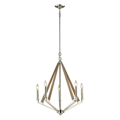 ELK Lighting 31475/5 Madera Collection Polished Nickel, Taupe Finish - PeazzLighting