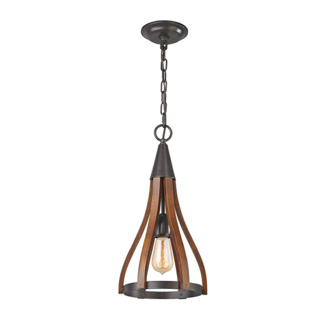 ELK Lighting 31575/1 Wood Arches Collection Oil Rubbed Bronze,Red Oak Finish - PeazzLighting