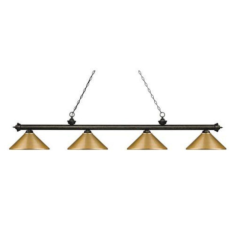 Z-Lite Riviera Golden Bronze 14-Inch Four-Light Island Pendant with Satin Gold Metal Shade