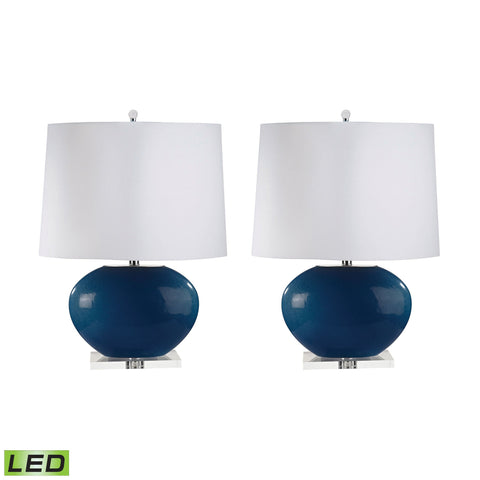 Lamp Works LAM-318/S2-LED Blown Glass Collection Royal Blue Finish Table Lamp