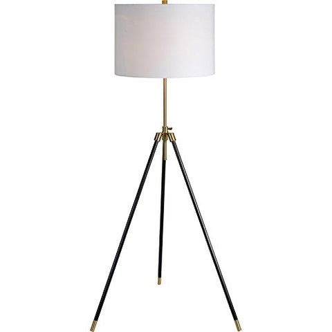 Renwil Modern Glamour Mewitt Floor Lamp in Antique Brass and Black