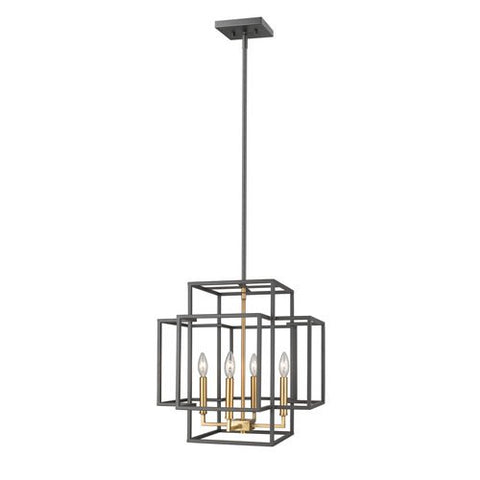 4-Light Transitional Pendant in Bronze and Olde Brass Finish