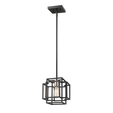 1-Light Mini Pendant in Black and Brushed Nickel Finish