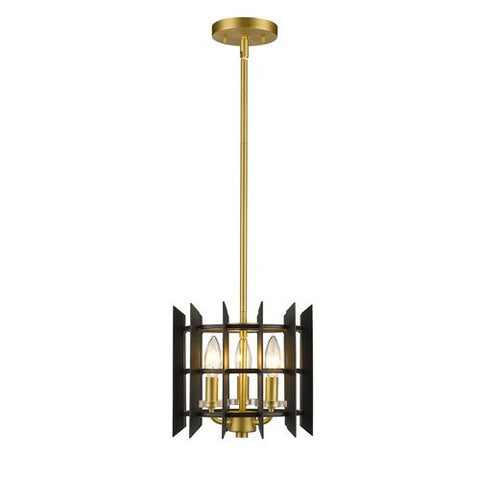 3-Light Mini Pendant in Satin Brass Finish