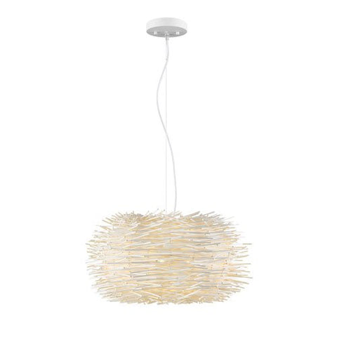 5-Light Pendant with White Willow Shade