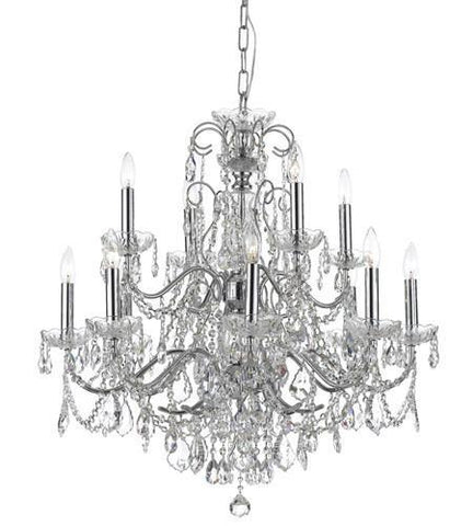 Crystorama 3228-CH-CL-I Imperial 12 Light Italian Crystal Chrome Chandelier - PeazzLighting