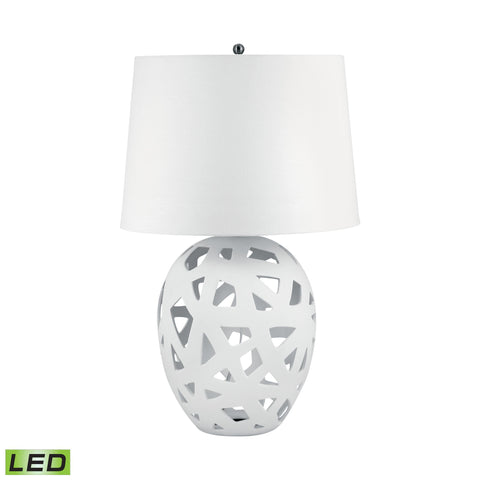 Lamp Works LAM-324W-LED Ceramic Collection White Finish Table Lamp