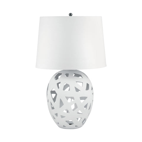 Lamp Works LAM-324W Ceramic Collection White Finish Table Lamp