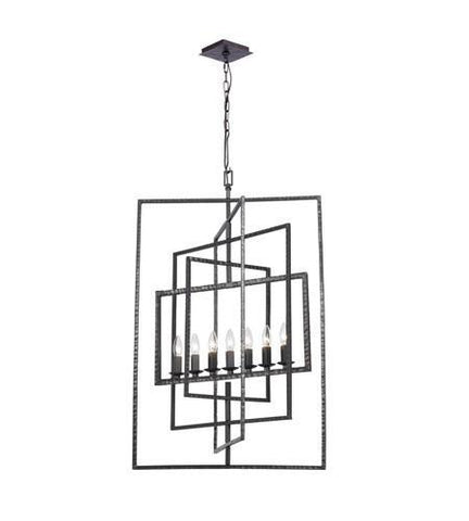 Crystorama 339-RS Capri 7 Light Raw Steel Chandelier - PeazzLighting