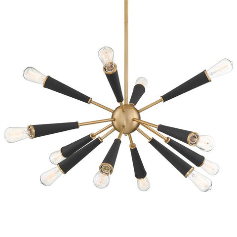 Crystorama Zodiac 12 Light Aged Brass Chandelier