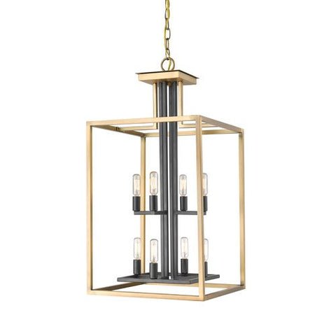 Z-Lite 456-8OBR-BRZ Quadra - Eight Light Chandelier, Olde Brass/Bronze Finish
