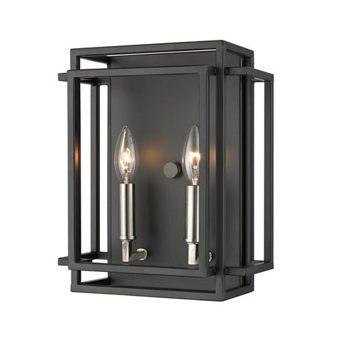 2-Light Wall Sconce in Black and Brushed Nickel Finish