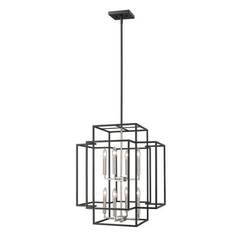 8-Light Pendant in Black and Brushed Nickel Finish