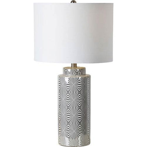 Renwil Camden Table Lamp in Silver and White
