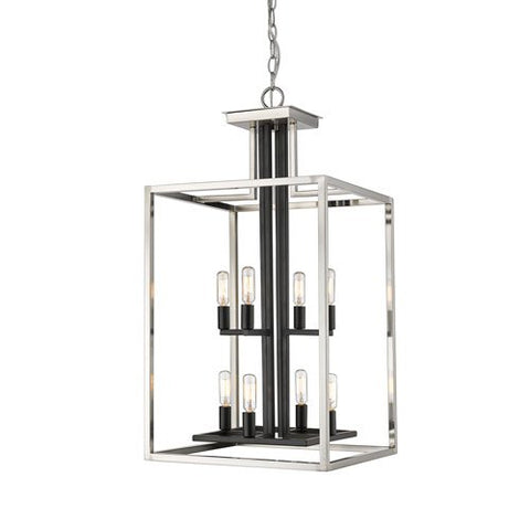 8-Light Chandelier in Brushed Nickel and Black Finish