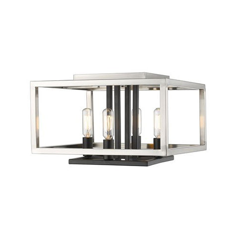 4-Light Flush Mount in Brushed Nickel and Black Finish