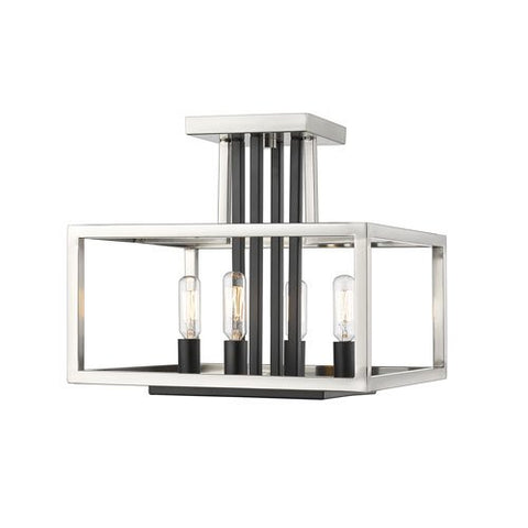 4-Light Semi-Flush Mount in Brushed Nickel and Black Finish
