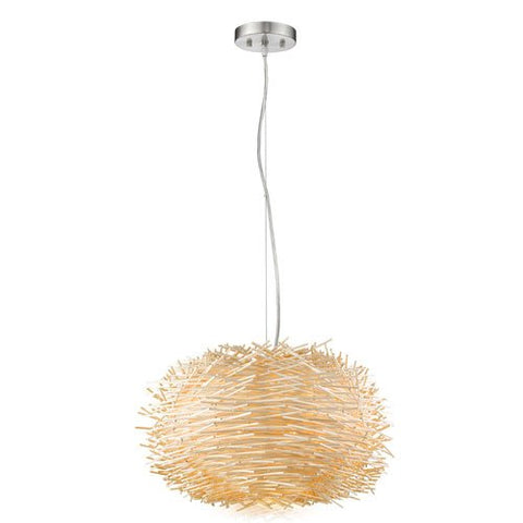 5-Light Pendant with Natural Willow Shade