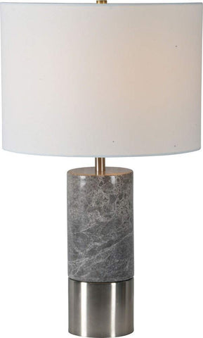 Renwil New Traditional Armley Table Lamp in Satin Nickel and Off White