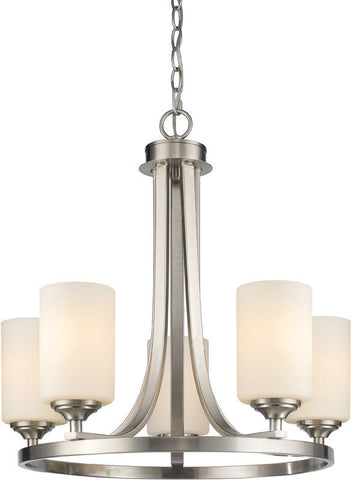 Z-Lite 435-5BN 5 Light Chandelier Bordeaux Collection Matte Opal Finish - ZLiteStore