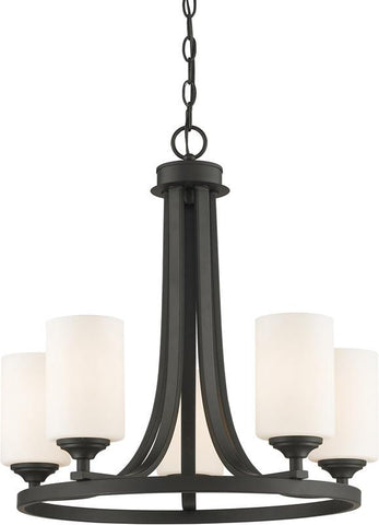 Z-Lite 435-5BRZ 5 Light Chandelier Bordeaux Collection Matte Opal Finish - ZLiteStore