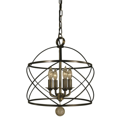 Framburg 4414-MB/AB 4-Light Mahogany Bronze/Antique Brass Nantucket Chandelier