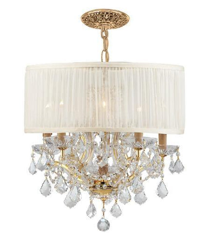Crystorama 4415-GD-SAW-CLM Brentwood 6 Light Crystal Gold Drum Shade Chandelier I - PeazzLighting