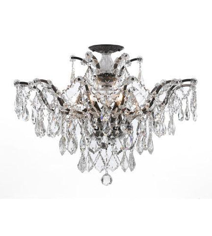 Crystorama 4459-VZ-CL-MWP_CEILING Filmore 6 Light Clear Hand Cut Bronze Semi-Flush - PeazzLighting