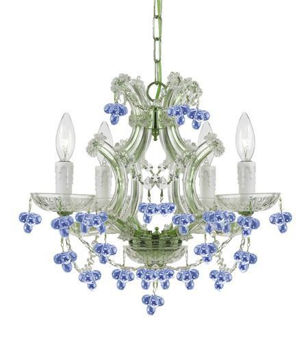 Crystorama 4474-ch-blue Maria Theresa 4 Light Blue Crysta...