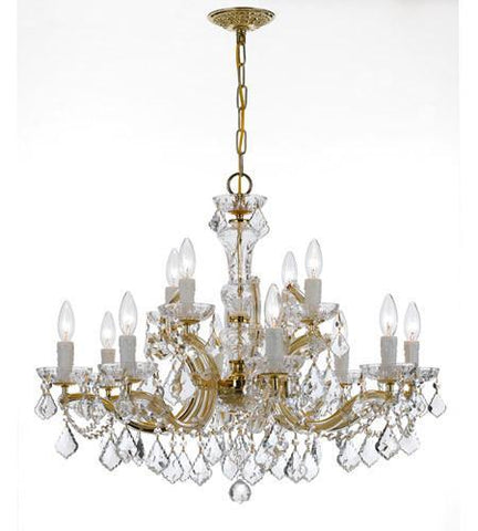 Crystorama 4479-GD-CL-SAQ Maria Theresa 12 Light Clear Crystal Chandelier - PeazzLighting