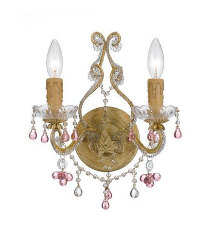 Crystorama 4522-CM-ROSA Paris Market 2 Light Rose Crystal Champagne Sconce - PeazzLighting