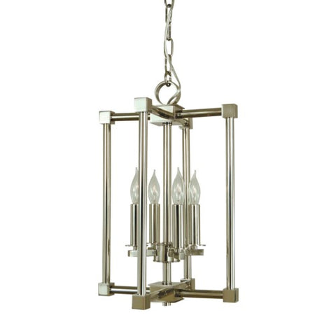 Framburg 4604-BN/PN 4-Light Brushed Nickel/Polished Nickel Lexington Chandelier
