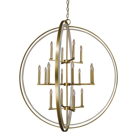 Framburg 4656-SB/SW 16-Lt Satin Brass and Satin White Constellation Pendant