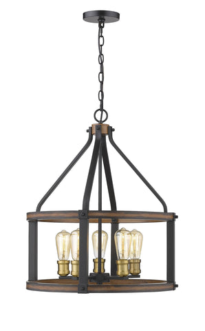 Z-Lite 472-5D-RM Kirkland Collection 5 Light Pendant Rustic Mahogany Finish