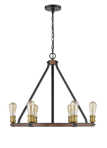 Z-Lite 472-6RM Kirkland Collection 6 Light Chandelier Rustic Mahogany Finish