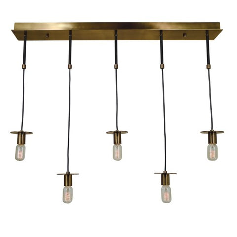 Framburg 4898-PN/MBLACK 5-Light Polished Nickel/Matte Black Juliette Island Chandelier