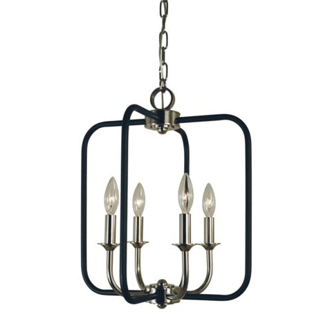 Framburg 4914-PN/MBLACK 4-Light Polished Nickel/Matte Black Boulevard Chandelier