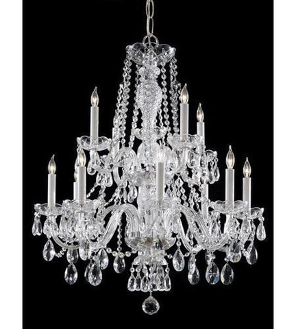 Crystorama 5047-CH-CL-I Traditional Crystal 12 Light Clear Italian Crystal Chrome Chandelier IV - PeazzLighting