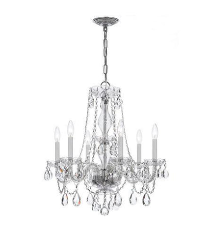 Crystorama 5086-CH-CL-SAQ Traditional Crystal 6 Light Swarovski Spectra Crystal Chrome Chandelier VI - PeazzLighting