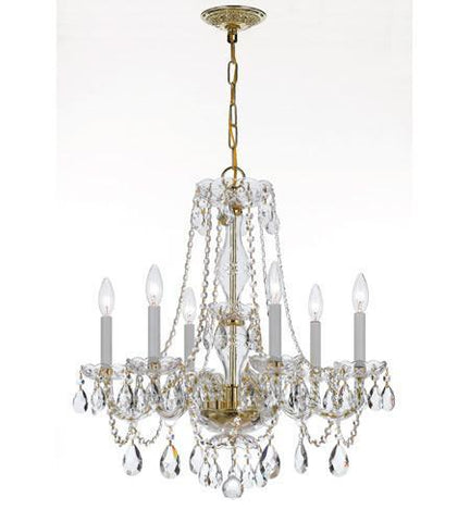 Crystorama 5086-PB-CL-MWP Traditional Crystal 6 Light Crystal Brass Chandelier V - PeazzLighting