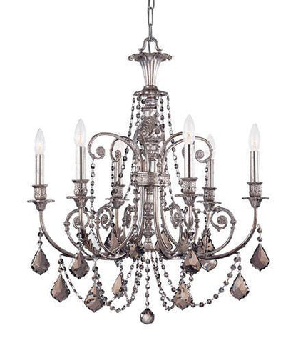 Crystorama 5116-OS-SS-MWP Regis 6 Light Clear Crystal Silver Chandelier - PeazzLighting