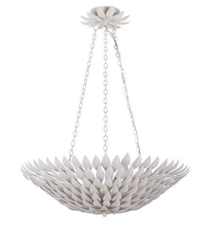 Crystorama 517-MT Broche 6 Light Matte White Pendant Chandelier - PeazzLighting